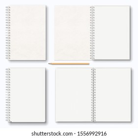 realistic blank open, closed brown beige paper texture notebook with white metal spiral on left, wooden pencil, top view. stock vector illustration clipart objects set isolated on white background