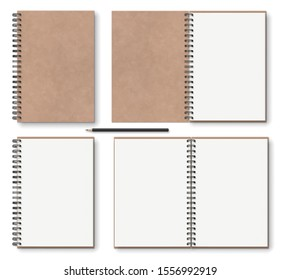 realistic blank open, closed brown kraft paper texture notebook with black metal spiral on left, wooden pencil, above view. stock vector illustration clip art objects set isolated on white background