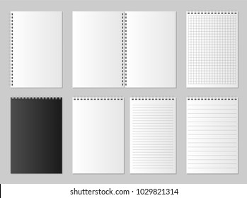 Realistic blank open and closed organizer. Notebook and notepad set mock up isolated. Diary paper page organizer and Notebook. vector illustration