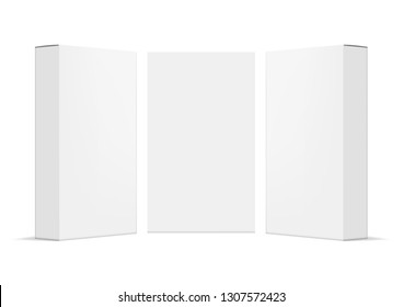 Realistic Blank Packet Carton Product Pack. EPS10 Vector