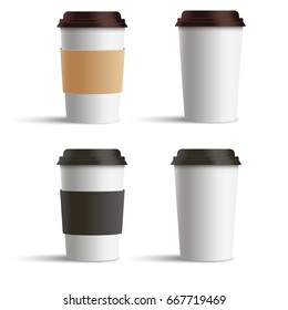 Realistic blank paper coffee cup set isolated on white background. Vector illustration