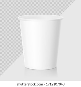 Realistic blank paper cup mockup. Coffee to go, take out mug. Vector illustration on grey background. EPS10.