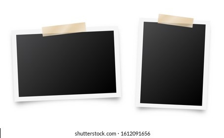 Realistic blank photo card frame, film set. Retro vintage photograph with adhesive tape. Digital snapshot image. Template or mockup for design. Vector illustration.