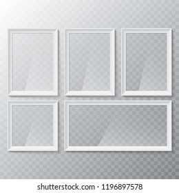 Realistic blank picture or photograph frame. Vector glass white photoframe for interior artwork design. Frame mockup template isolated on transparent background.