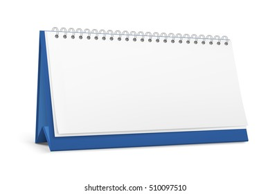 Realistic blank standing desk calendar with a spiral. Vector EPS10 illustration.