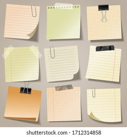 Realistic blank sticky notes with clip binder and adhesive tape. Colored sheets of note papers. Paper reminder. Vector illustration.