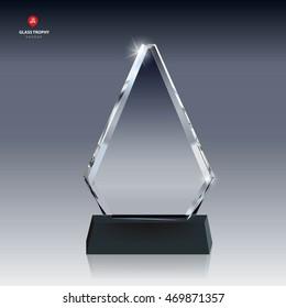 Realistic Blank Vector Glass Trophy Award