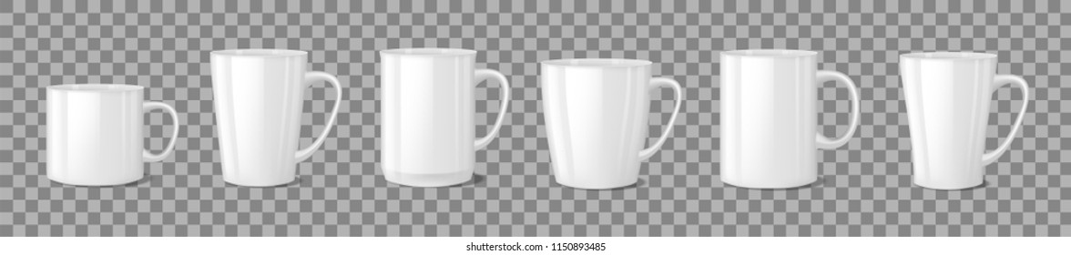 Realistic blank white coffee mug cups on transparent background. Cup template mockup isolated. teacup for breakfast. Vector illustration
