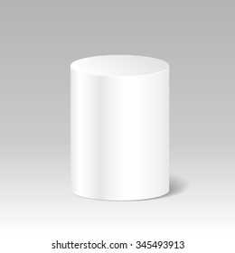 Realistic Blank White Cylinder. Product Package Box Mock Up. Stand, Podium, Platform To Advertise Goods. Container, Packaging Template. Vector.