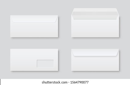 Realistic blank white letter paper DL envelope front view. Vector blank open and closed on gray background - stock vector.