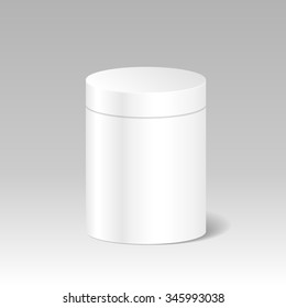 Realistic Blank White Product Package Box Mock Up To Advertise Goods. Cylindrical Container With Lid. Packaging Template. Vector.