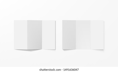 Realistic Blank White Tri-folded Booklets Mock Up Top View. EPS10 Vector