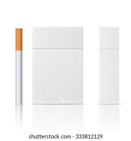 Realistic blanks of cigarette pack and cigarette. Isolated on white background. Perfect for advertising cigarettes