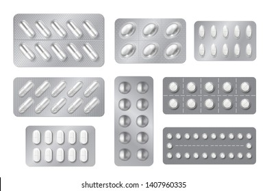 Realistic blisters. Medicine pill and capsule packs, white 3D drugs and vitamins isolated mockup. Vector pharmacy packaging tablet set