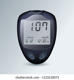 realistic blood glucose meter glucometer, diabetes blood glucose test isolated vector eps10