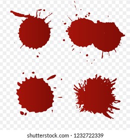 Realistic blood splatters and blood drops vector set. Splash red ink. vector illustration isolated on transparent background.