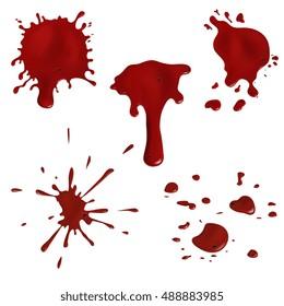 Realistic blood splatters and blood drops vector set. Splash red ink illustration