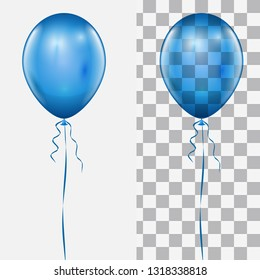 Realistic Blue Balloon Isolated on White and Checker Background Vector Template.