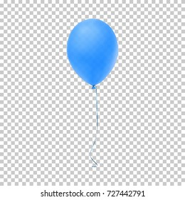 Realistic blue balloon isolated on transparent background. Vector illustration.