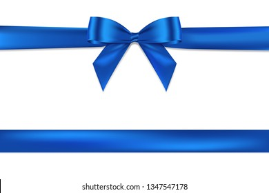 Realistic Blue bow shiny satin and ribbon horizontal line with shadow vector EPS10 for decorate your wedding card,website or gift card,isolated on white background