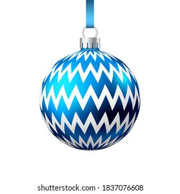 Realistic  blue   Christmas  ball  with pattern  isolated on white background. Xmas  tree decoration. Vector bauble.