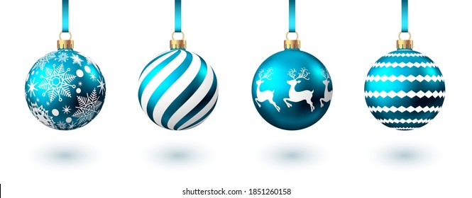 Realistic  blue   Christmas  balls  with pattern  isolated on white background. Xmas  tree decoration. Vector bauble.