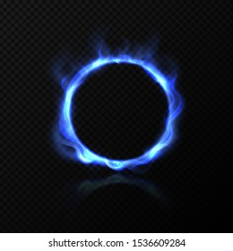 Realistic blue fire circle. Ring of blue fire with shiny flame effect. Vector effect burning round hoop on black transparent background