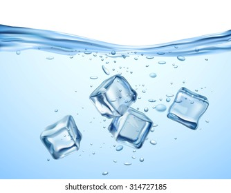 Realistic blue ice cubes floating in transparent water vector illustration