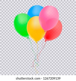 Realistic blue, pink,yellow,green,red balloon isolated on transparent background. Vector illustration.