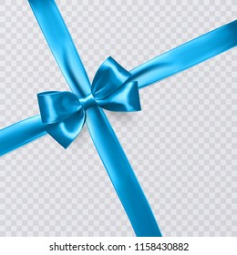 Realistic blue ribbon or bow on transparent background. Template poster, for greeting card or brochure. Vector illustration.