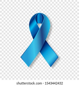 Realistic Blue ribbon to Prostate Cancer Awareness Month, October. Silk bright medical banner, 3d tape preventing the male prostate disease. Colon cancer treatment. Transparent cover, shadow. Vector