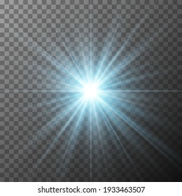 Realistic blue starburst lighting isolated on transparent background. Glow light effect. Glowing light burst explosion. Bright star illuminated. Flare effect decoration with ray sparkles. Vector