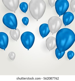 Realistic blue and white birthday balloons flying for party or celebrations. Space for message. Isolated on light background