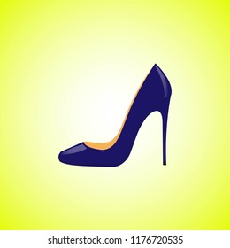 Realistic blue women shoes isolated on a yellow background. Vector illustration EPS 10.