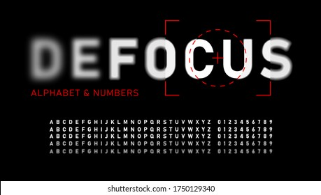 Realistic blurred font. Alphabet with focused and defocused letters and numbers. Bold letters isolated on black background. Vector illustration