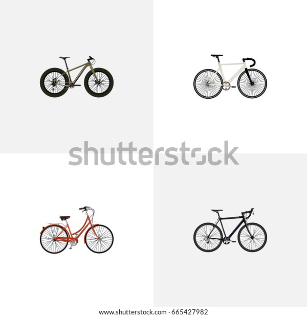 Realistic Bmx, Road Velocity, Cyclocross Drive And Other Vector Elements. Set Of  Realistic Symbols Also Includes Bicycle, Old, Retro Objects.