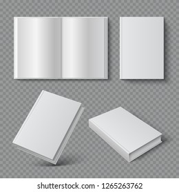 Realistic book cover. Blank brochure cover mockup, white paperback surface, empty textbook magazine catalog. Isolated 3D vector set