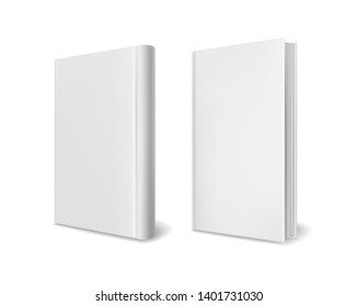 Realistic book cover mockups. Empty white closed perspective hardcover books brochure magazine or catalog vector 3d template set
