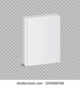 Realistic book mockup on transparent background. Vector illustration.