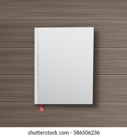 Realistic book with white cover on a wooden table. Mock Up of books. Vector illustration