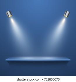 Realistic bookshelf with illumination on blue background, vector illustration