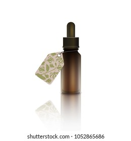 Realistic bottle with cardboard label - essential oil of ylang-ylang (cananga tree). A dropper with ylang ylang flower essential oil. Aromatherapy, perfumery, cosmetics, spa sticker, price tag, coupon