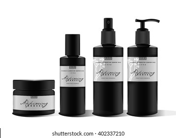 Realistic bottle for essential oil and tube or container for cream, wax, lotion, spray. Soap pump. Mock up set. Cosmetic vial, flask, dropper-bottle, shampoo, oil, gel. Label, sticker design