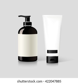 Realistic bottle of liquid soap. Cosmetic bottle for a cream, shampoo, oil, gel. Mock up. Label for container. Blank white realistic tube for cosmetics, cream, ointment, toothpaste.