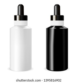 Realistic bottle mock up with dropper. Template for medical or cosmetic fluid, drops, oil, juice.Serum Essence Treatment Product Blank Mockup. Vector Illustration.