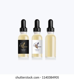 Realistic bottle mock up with taste honey with cereal for an electronic cigarette. Dropper bottle with design white or black labels. Vector illustration