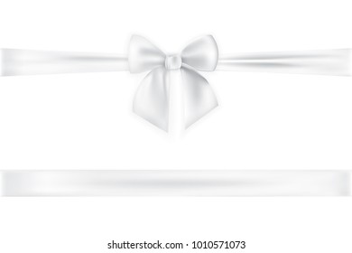 Realistic  bow and ribbon isolated on transparent background. Template for brochure or greeting card. Vector illustration.