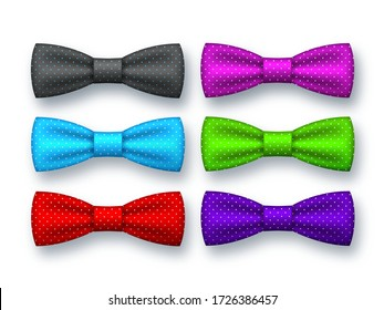 Realistic bow tie collection. Decorative elements for Fathers day. Different colors with dotted patterns. Isolated on white. Vector illustration.