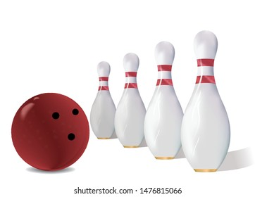 Realistic bowling ball and skittles pins vector illustration. Isolated on a white background
