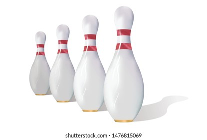 Realistic bowling skittles pins with shadow vector illustration. Isolated on a white background